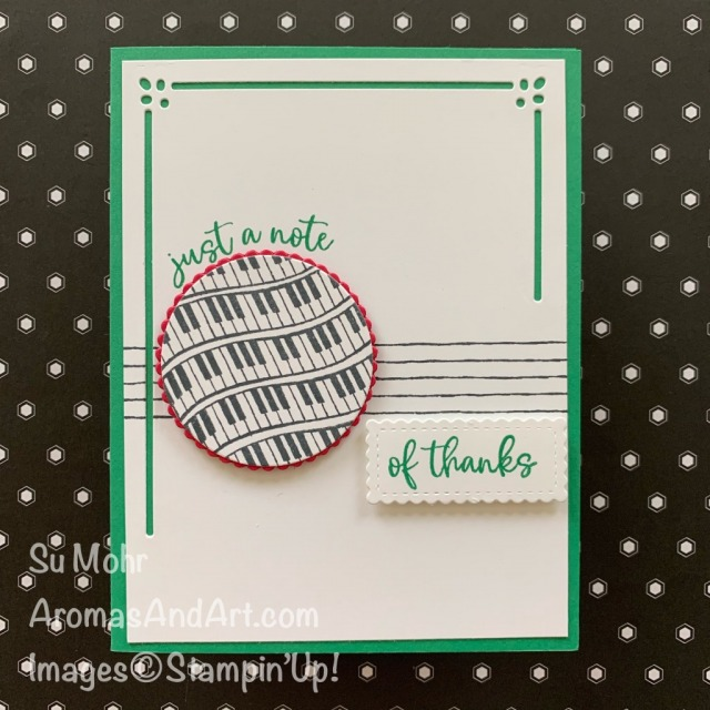 By Su Mohr for Fusion; Click READ or VISIT to go to my blog for details! Featuring: Music From The Heart Stamp Set, Layering Circles Dies, Lasting Elegance Dies, Stitched So Sweetly Dies; #musicfromtheheart #lastingelegance #stitchedsosweetly #musiconcards #cardsketches #last-chanceproducts #thankyoucards #pianokeys #pianos #notecards #music #cardsketches #cardchallenges #handmadecards #handcrafted #diy #cardmaking #papercrafting #stampinup