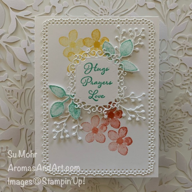By Su Mohr for TGIF; Click READ or VISIT to go to my blog for details! Featuring: Butterfly Wishes Stamp Set, Positive Thoughts Stamp Set, Ornate Frames Dies, Ornate Layers Dies, Frosted Bouquet Dies, Leaf Punch, Painted Harvest Stamp Set; #ornateframes #ornatelayers #butterflywishes #friendshipcards #watercoloroncards #watercoloring #flowersoncards #handmadecards #handcrafted #diy #cardmaking #papercrafting #colorcombos #cardchallenges