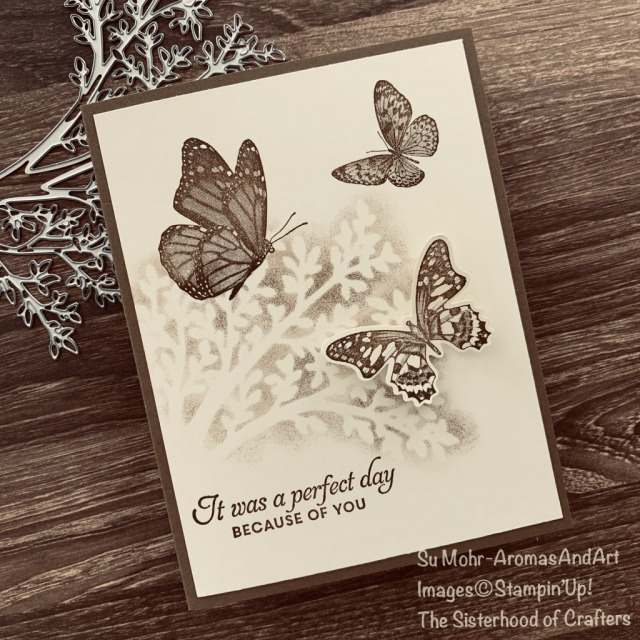 By Su Mohr for The Sisterhood of Crafters Design Team; Click READ or VISIT to go to my blog for details! Featuring: Butterfly Wishes Stamp Set,Sweet Silhouettes Dies; #stenciling #stencilingtechnique #cardtechniques #sepia #monochromatic #butterflywishes #butterflies #butterfliesoncards #cardthemes #sweetsilhouettes #handmadecards #handcrafted #diy #papercrafting