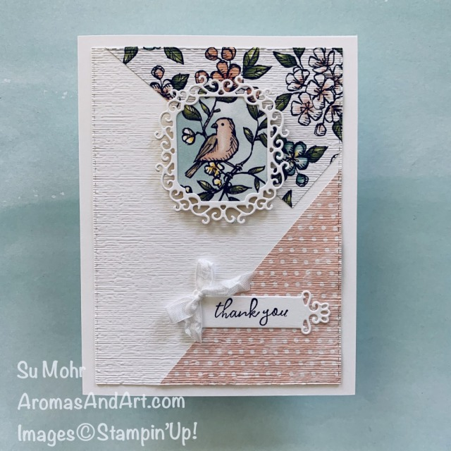 By Su Mohr for cts; Click READ or VISIT to go to my blog for details! Featuring: Bird Ballad DSP, Stitched Rectangles Dies, Ornate Frames Dies, Subtle Textured embossing, Crinkled Seam Binding Ribbon; #thankyoucards #birds #birdsoncards #Birdballadpaper #anglesoncards #cardsketches #cardchallenges #handmadecards #handcrafted #cardmaking #diy #papercrafting