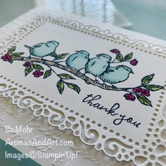 By Su Mohr for PP; Click READ or VISIT to go to my blog for details! Featuring: Free As A Bird Stamp Set, Stampin' Blends, Ornate Layers Dies, Scripty Embossing; #thankyoucards #freeasabird #bird #birdsoncards #ornatelayers #alcoholmarkers #stampinblends #coloring #adultcoloring #handmadecards #handcrafted #diy #cardmaking #papercrafting #colorcombos #cardchallenges