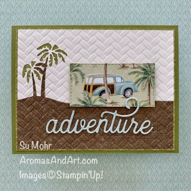 By Su Mohr for TGIF and Seize the B'day; Click READ or VISIT to go to my blog for details! Featuring: Tropical Oasis DSP, Coastal Weave embossing, Friendly Silhouettes Dies, Sweet Silhouettes Dies; #tropicalcards #tropicaloasis #adventure #travel #hawaii #classiccars #tropicalcards #traveloncards #handmadecards #handcrafted #diy #friendlysilhouettes #sweetsilhouettes #stampinup