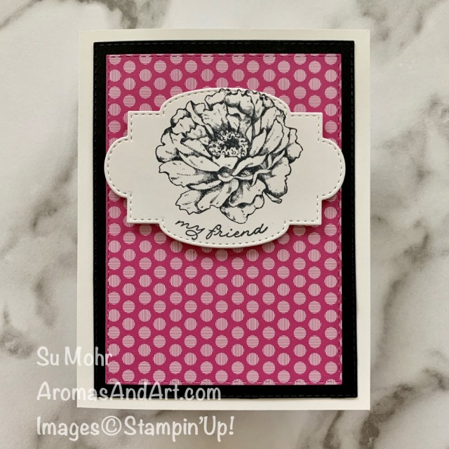 By Su Mohr for cts; Click READ or Visit to go to my blog for details! Featuring: Prized Peony Stamp Set, Stitched So Sweetly Dies, Stitched Rectangles Dies, In Color 6X6 DSP; #prizedpeony #peonies #flowers #flowersoncards #clean&simple #easytomake #handmadecards #handcrafted #diy #cardmaking #papercrafting #friendshipcards #cardchallenges #cardsketches #cardinstructions #cardsforbeginners