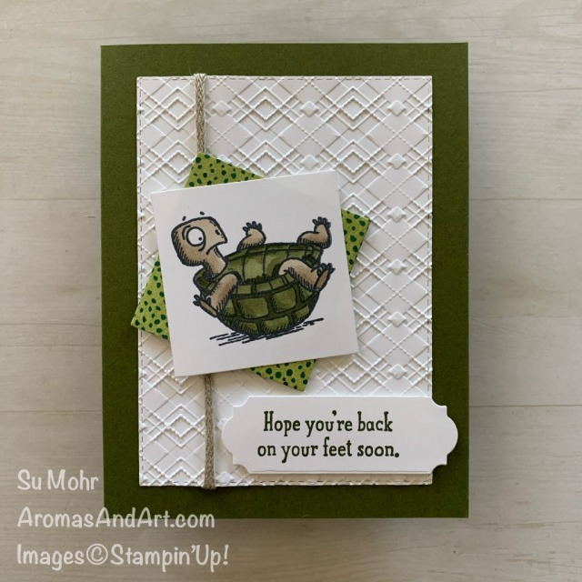 By Su Mohr for FMS; Click READ or VISIT to go to my blog for details! Featuring: Back On Your Feet Stamp Set, Stampin' Blends, Absolutely Argyle embossing, Braided Linen Trim; #getwellcards #turtles #turtlesoncards #humorouscards #handmadecards #handcrafted #diy #cardmaking #papercrafting #cardsketches #cardchallenges