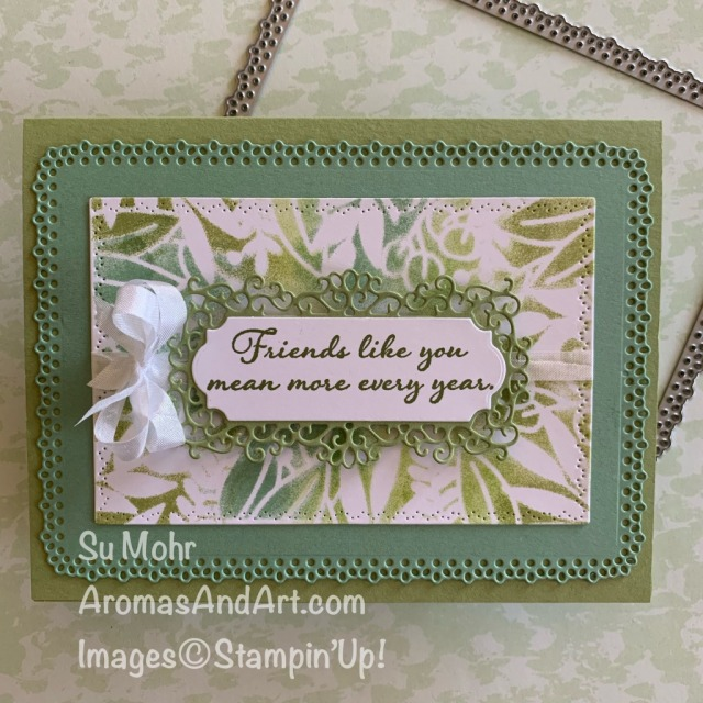 By Su Mohr;Forever Gold Laser-Cut Paper, Ornate Layers Dies, Ornate Frames Dies, Nature's Thoughts Dies, Positive Thoughts Stamp Set, Crinkled Seam Binding Ribbon; Click READ or VISIT to go to my blog for details! #forevergoldlaser-cutpaper #laser-cutpaper #ornatelayers #ornateframes #stenciling #stenciledcards #handmadecards #handcrafted #diy #cardmaking #papercrafting #vature'sthoughts #positivethoughts #cardtechniques