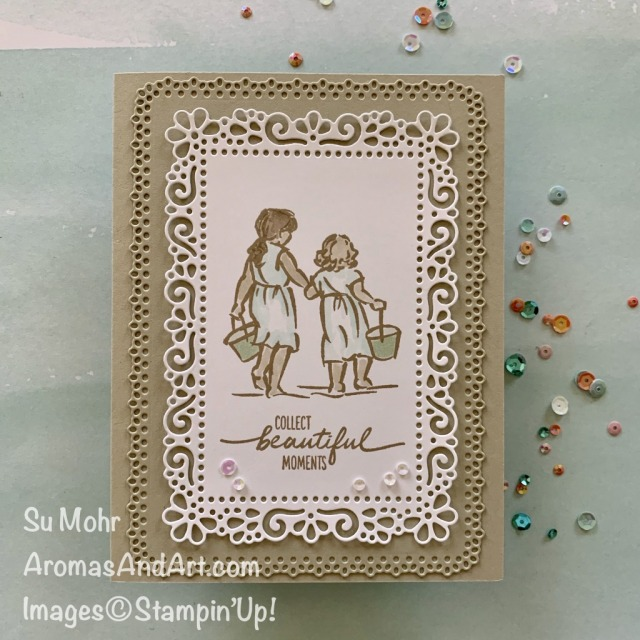 By Su Mohr for #GDP247; Click READ or VISIT to go to my blog for details! Featuring: Beautiful Moments Stamp Set, Ornate Layers Dies, Stampin' Blends; #beautifulmoments #ornatelayersdies #beachscenes #sisters #sistercards #summercards #handmadecards #handcrafted #diy #cardmaking #papercrafting #collectingseashells