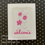 By Su Mohr; Click READ or VISIT to go to my blog for details! Featuring: In Color 6X6 DSP, Ornate Layers Dies, Well Written Dies, Ornate Borders Dies; #ornatelayers #ornateborders #wellwritten #buttonflowers #welcomecards #welcometomyteam #flowersoncards #handmadecards #handcrafted #diy #cardmaking #papercrafting #stampinup #joinstampinup