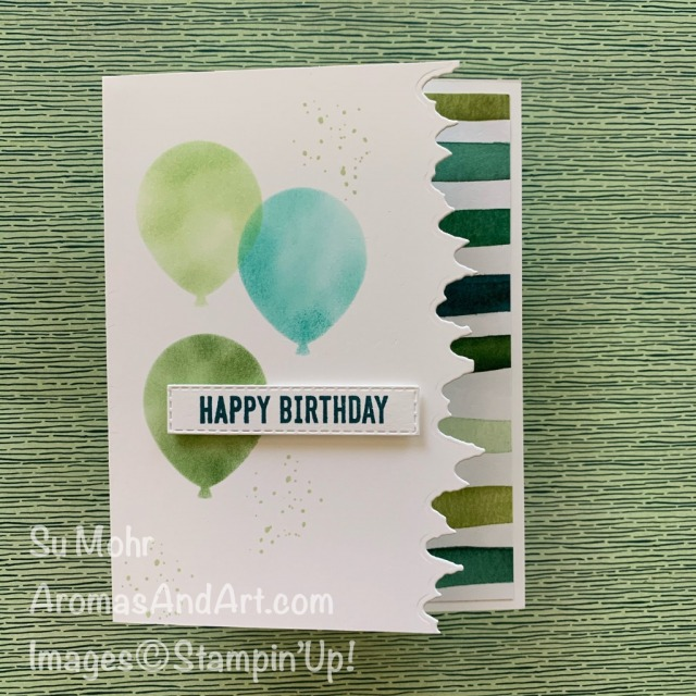 By Su Mohr for TGIF; Click READ or VISIT to go to my blog for details! Featuring: Majestic Mountain Dies, Balloon Bouquet Punch, Itty Bitty Birthday Stamp Set, Forever Greenery DSP, Forever Fern Stamp Set; #masculinebirthdaycards #masculinecards #birthdaycards #majesticmountain #stenciling #stencilingoncards #cardtechniques #cardinstructions #forevergreenery #handmadecards #handcrafted #diy #cardmaking #papercrafting