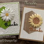 By Su Mohr; Click READ or VISIT to go to my blog for details! Featuring: Daisy Punch, Well Written Dies, In Color 6X6 paper, Pinewood Planks embossing, Ornate Floral embossing, Layering Circles Dies, Stitched nested Labels Dies; #daisies #sunflowers #flowersoncards #paperflowers #handmadecards #handcrafted #diy#wellwritten #thankyoucards #papercrafting #cardmaking #stampinup #offers