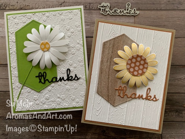 By Sui Mohr for cts; Click READ or VISIT to go to my blog for details! Featuring: Daisy Punch, Well Written Dies, In Color 6X6 paper, Pinewood Planks embossing, Ornate Floral embossing, Layering Circles Dies, Stitched nested Labels Dies; #daisies #sunflowers #flowersoncards #paperflowers #handmadecards #handcrafted #diy#wellwritten #thankyoucards #papercrafting #cardmaking #stampinup #offers