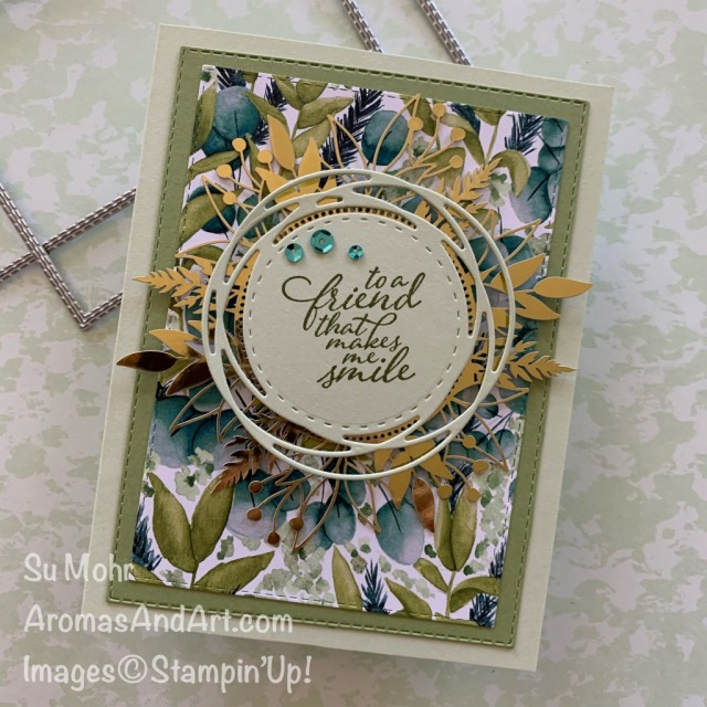 By Su Mohr for Kre8tors Vlog; Click READ or VISIT to go to my blog for details! Featuring: Forever Greenery DSP, Forever Greenery Suite, Forever Fern Stamp Set, Painted Labels Dies, Stitched Rectangles Dies, Forever Gold Laser-cut DSP; #forevergreenery #foreverfern #forevergoldlaser-cutpaper #friendshipcards #handmadecards #handcrafted #diy #cardmaking #papercrafting #videos #videoinstruction #howtovideo