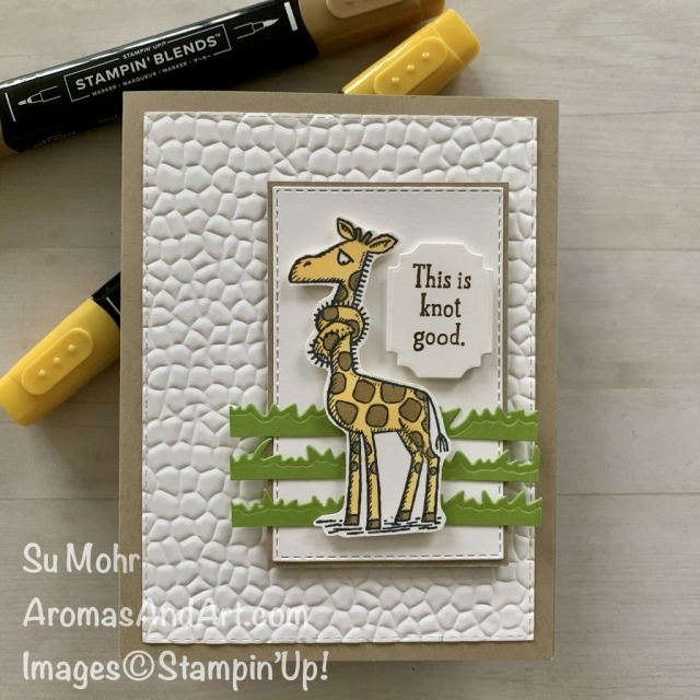 By Su Mohr for cts; Click READ or VISIT to go to my blog for details! Featuring: Back On Your Feet Stamp Set, Stitched Rectangles Dies, Ornate Frames Dies, Stampin' Blends, Hammered Metal embossing; #backonyourfeet #animalsoncards #giraffes #giraffesoncards #humorouscards #getwellcards #handmadecards #handcrafted #diy #cardmaking #papercrafting