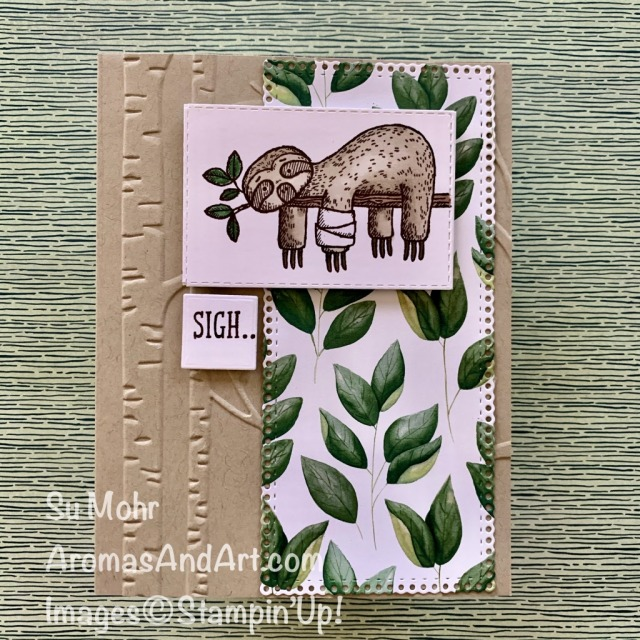 By Su Mohr for the Kre8tors Blog Hop; Click READ or VISIT to go to my blog for details! Featuring: Back On Your Feet Stamps Set, Forever Greenery DSP, Ornate Layers Dies, Ornate Frames Dies, Stampin' Blends; #sloths #slothsoncards #getwellcards #backonyourfeet #handmadecards #handcrafted #diy #cardmaking #papercrafting #bloghops #humorouscards