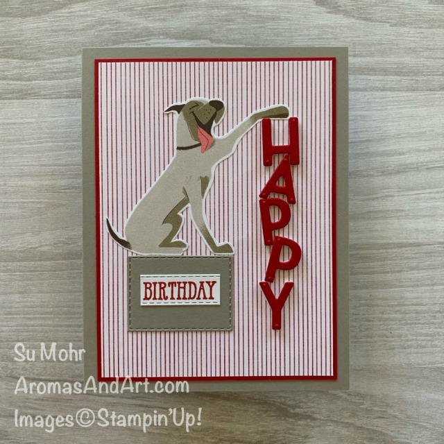 By Su Mohr; Click READ or VISIT to go to my blog for details! Featuring: Playful Pets Designer Paper, Playful Alphabet Dies, Stitched Rectangles Dies, Well Said Stamp Set; #playfulpets #pamperedpets #dogs #dogsoncards #birthdaycards #cardsforkids #pets #handmadecards #handcrafted #diy #papercrafting #cardmaking #