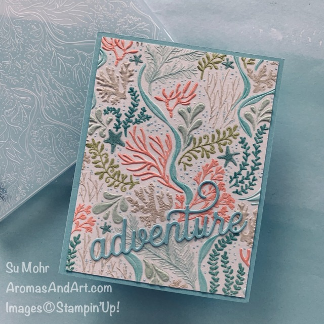By Su Mohr for #GDP251; Click READ or VISIT to go to my blog for details! Featuring: Seabed Embossing Folder, Sweet Silhouettes Dies, Shimmery White Paper, Stampin' Blends; #aquatictheme #seacards #underwater #sealifeoncards #ocean #cardsbythesea #handmadecards #handcrafted #cardmaking #diy #papercrafting #retirementcards #adventurecards#masculinecards #birthdaycards #travelcards