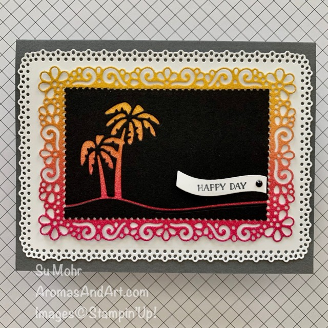 By Su Mohr for the Kre8tors Blog Hop; Click READ or VISIT to go to my blog for details! Featuring: Friendly Silhouettes Dies, Ornate Layers Dies, Ornate Frames Dies, Rainbow Glimmer Paper; #palmtrees #tropical #tropicalvacations #colorcombinations #birthdaycards #tropicalcards #handmadecards #handcrafted #diy #papercrafting# cardmaking #bloghops #stampinup #friendlysilhouettes #silhouettesoncards #handcrafted