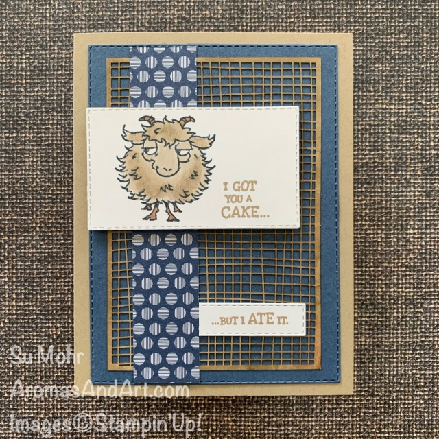 By Su Mohr for PP; Click READ or VIISIT to go to my blog for details! Featuring: Way To Goat Stamp Set, Forever Gold Laser-Cut Paper, Stitched Rectangles Dies, Stampin' Blends; #waytogoat #goats #goatsoncards #humorouscards #masculinecards #birthdaycards #masculinebirthday #handmadecards #handcrafted #diy #papercrafting #cardmaking #stampinup