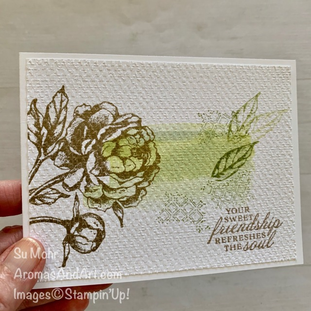 By Su Mohr for GDP Design Team; Click READ or VISIT to go to my blog for details! Featuring: Prized Peony stamp set, Gold heat embossing, Tasteful Textile embossing; #GDP25 #onelayercard #simplestamping #watercolorbackground #flowers #peonies #flowersoncards #prizedpeony #handmadecards #handcrafted #diy #cardmaking #papercrafting