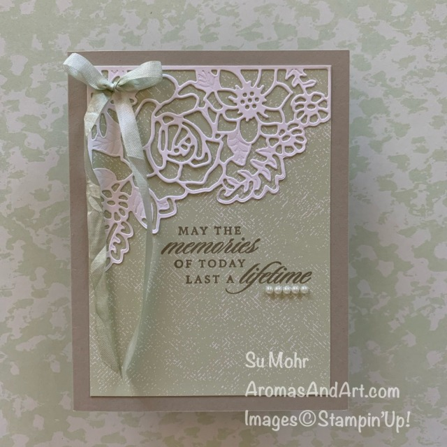 By Su Mohr for PP; Click READ or VISIT to go to my blog for details! Featuring: Last A LIfetime Stamp Set, Lasting Elegance Dies, Crinkled Seam Binding Ribbon; #weddingcards #lastalifetime #lastingelegance #crinkledseambindingribbon #ribbononcards #weddings #weddingideas #cardinstructions #handmadecards #handcrafted #diy #cardmaking #papercrafting #stampinup